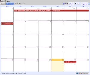 Public Google Calendar for foreskin restoration events and activities