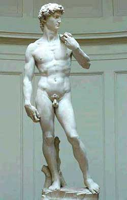 Michelangelo's statue of David at the Galleria dell'Accademia in Florence