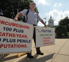 Randy Delaware demonstrates against male infant circumcision
